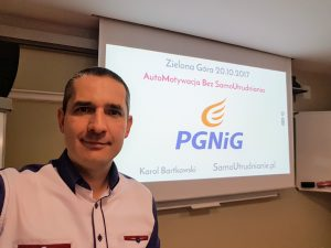 Karol Bartkowski na wystąpieniu w PGNiG