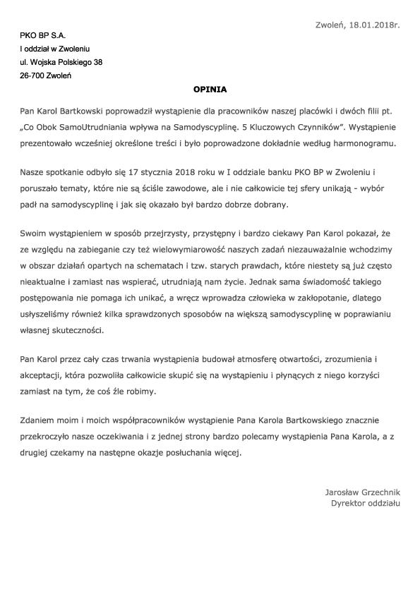 Opinia Jarosław Grzechnik Dyrektor I oddziału PKO BP S.A. w Zwoleniu op1