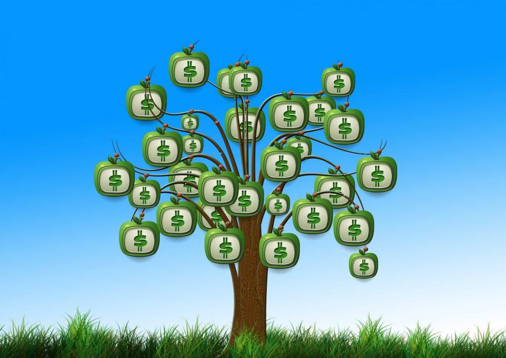 Drzewo z rosnącymi na nim pieniędzmi. Grafika z bloga https://karolbartkowski.pl