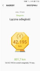 Wyniki biegowe i łączna odległość 801,7 km. Grafika z bloga https://karolbartkowski.pl