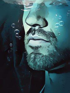 Twarz mężczyzny pod wodą z bąbelkami powietrza